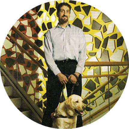 Albert Rizzi and his first guide dog, Doxy
