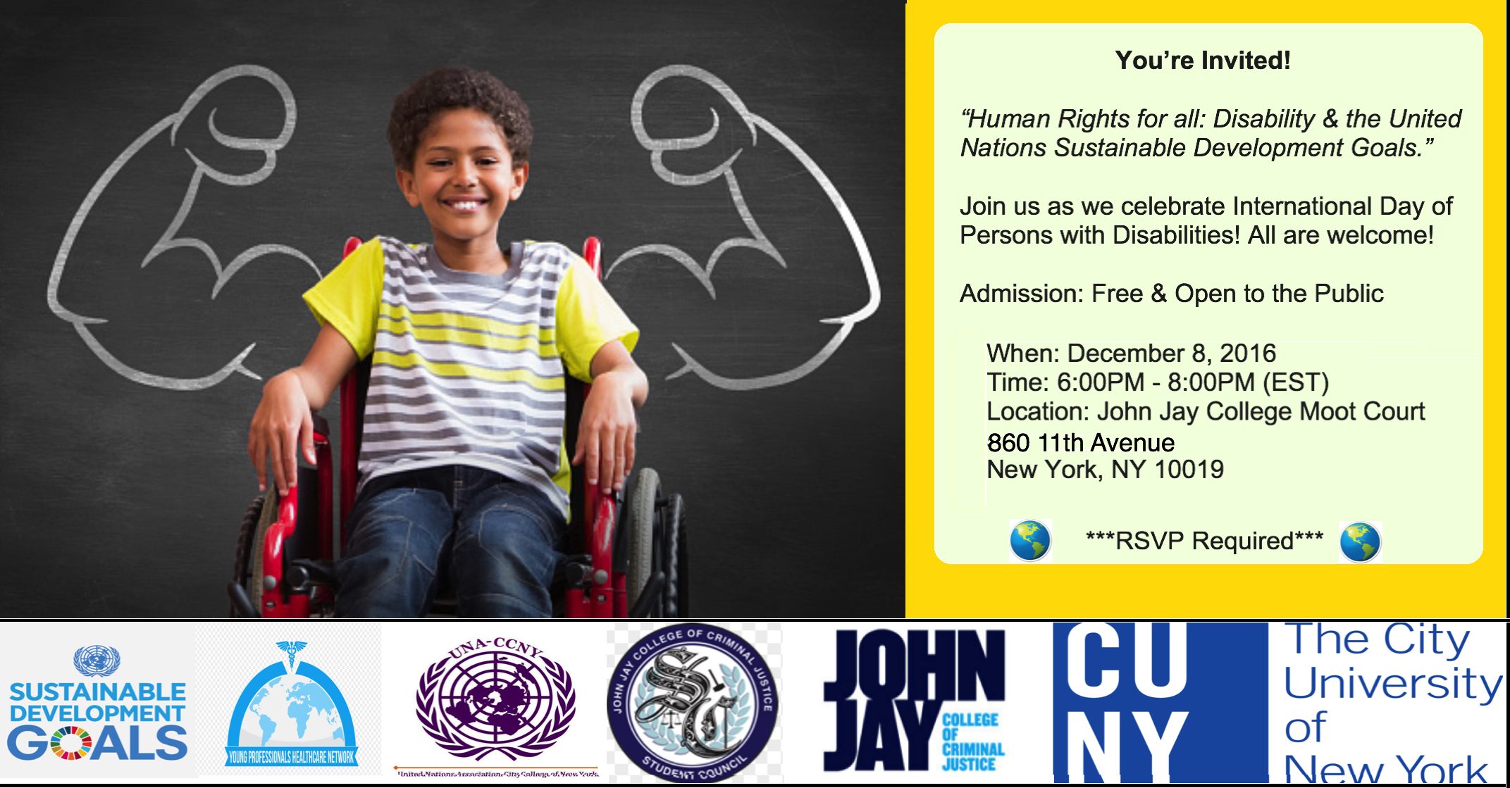 You're Invited to the December 8, 2016 Human Rights for all: Disability & the United Nations Sustainable Development Goals at John Jay College