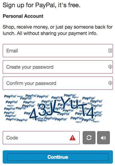 Screenshot of a PayPal form correctly utilizing color (red) to indicate form errors.