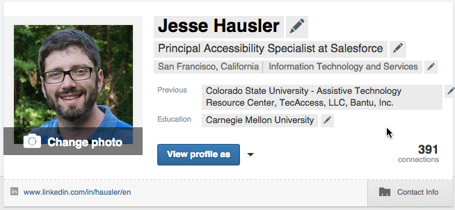 Screenshot of a LinkedIn profile banner after the user has hovered over the card. The hover state displays every field that can be edited by the user. In this state every field has a gray background and a pencil icon alongside it.
