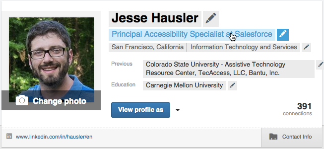 Screenshot of a LinkedIn profile banner with the user hovering over his job title. In this state the text field has a blue text color and a lighter blue background color.