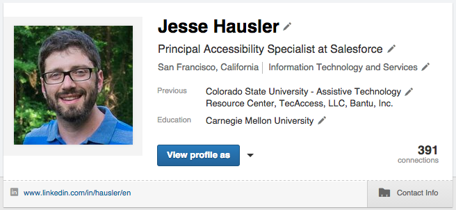 Screenshot of the same LinkedIn profile banner as before in a hovered state but with smaller pencils as icons.