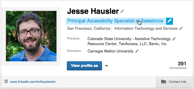 Screenshot of the LinkedIn profile banner in a hovered state with smaller pencils as icons. The user has hovered over his job title.