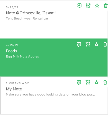 Screenshot of a list view from Evernote. Icons are always visible despite the state.