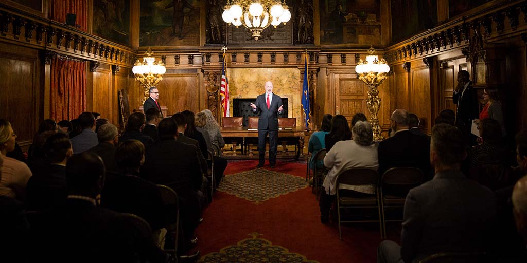 Pennsylvania Governor Tom Wolf addresses an audience
