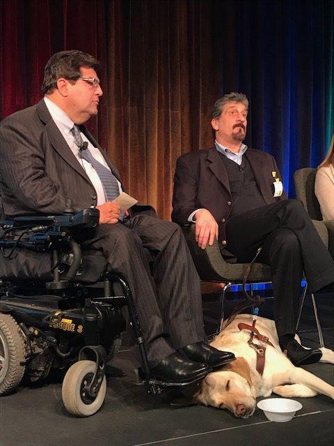 Jim Sinocchi of JPMorgan Chase and Albert Rizzi speak on a panel