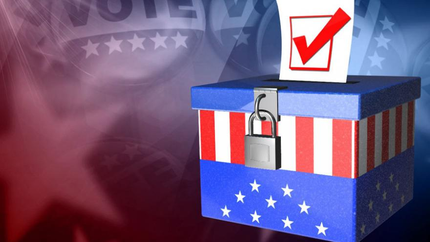 Animated ballot box stylized in red, white, and blue