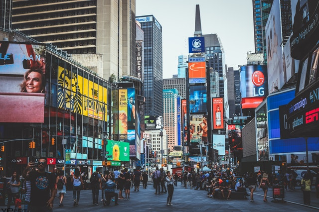 Crowd of People walking in Times Square